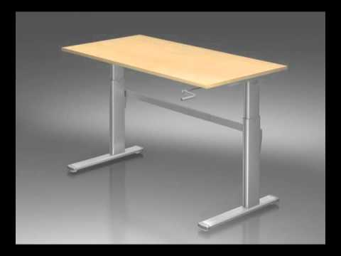Bureau hauteur r glable man uvre par manivelle youtube - Table basse ajustable hauteur ...