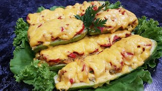 Фаршированные кабачки лодочки в духовке | Запекаем вкуснее пиццы !