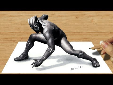 3D Colored Pencil Drawing: Black Panther - How To Draw 3D Art