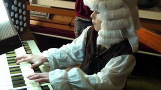 "6 year old ""Bach"" plays Toccata and Fugue in ""D"" minor on pipe organ."