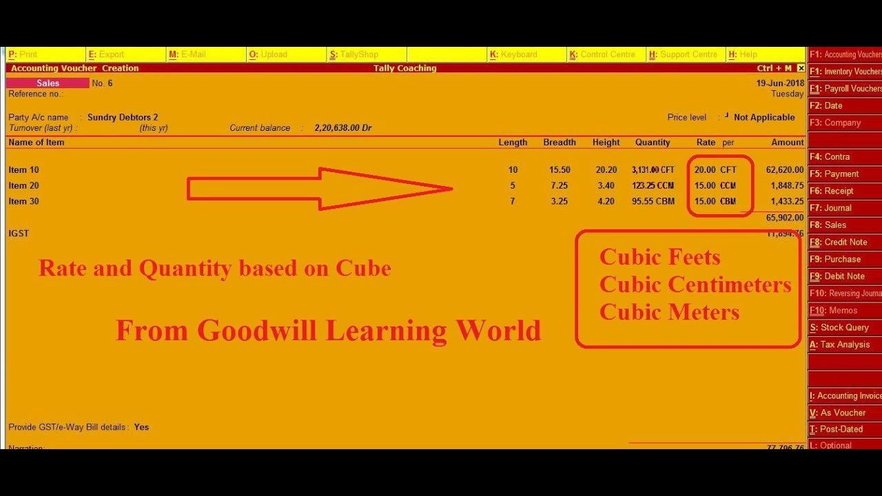 Tally TDL for Quantity in Cubic Calculation Cubic Meter, Cubic Centimeter  and Cubic Feet