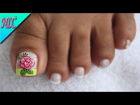 Decoración De Uñas Para Pies Rosa Y Francés French Nail Art