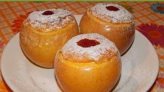 Печеные яблоки с творогом и изюмом. / English subtitlings. Baked apples with cottage cheese.