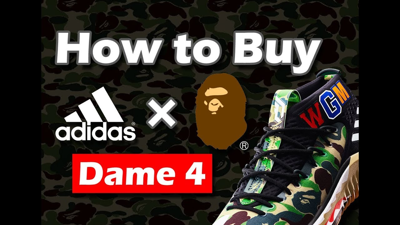 release date: 3cd3f 5865d How to Buy adidas X BAPE Dame 4 I Camo Shoes I UnPlug I Vlog