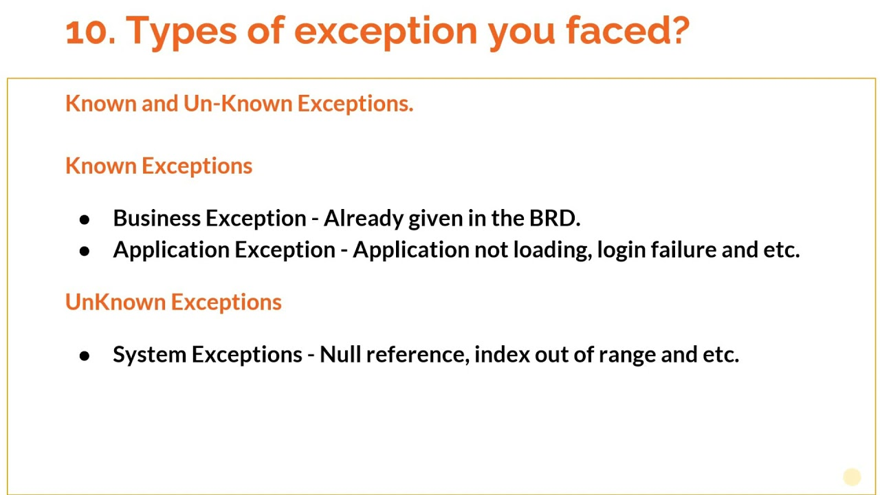 RPA Interview question: 'Types of exceptions faced and how you handle it ?'