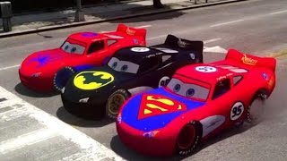 Spider-Man, Batman & Superman Race track with their Flash McQueen Cars!