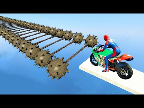 SPIDERMAN and Motorcycles with Trip Mines Obstacles Challenge - GTA 5