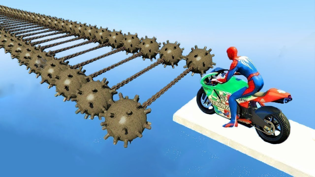 Download SPIDERMAN and Motorcycles with Trip Mines Obstacles Challenge - GTA 5