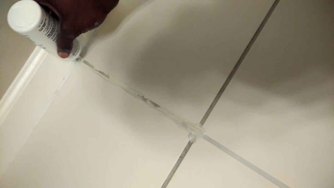 Tile and grout cleaning - Recolor of grout - before - YouTube