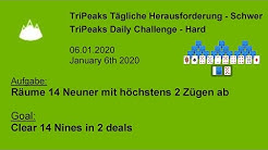 Clear 14 Nines in 2 deals   TriPeaks Hard   Jan 6, 2020   Microsoft Solitaire Collection