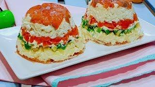 Слоёный рыбный салат для Новогоднего стола. Новогодние рецепты.