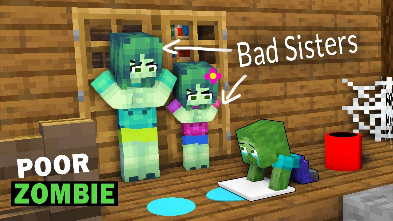 POOR BABY ZOMBIE (BAD SISTER): Very Touching Story: MINECRAFT ANIMATION