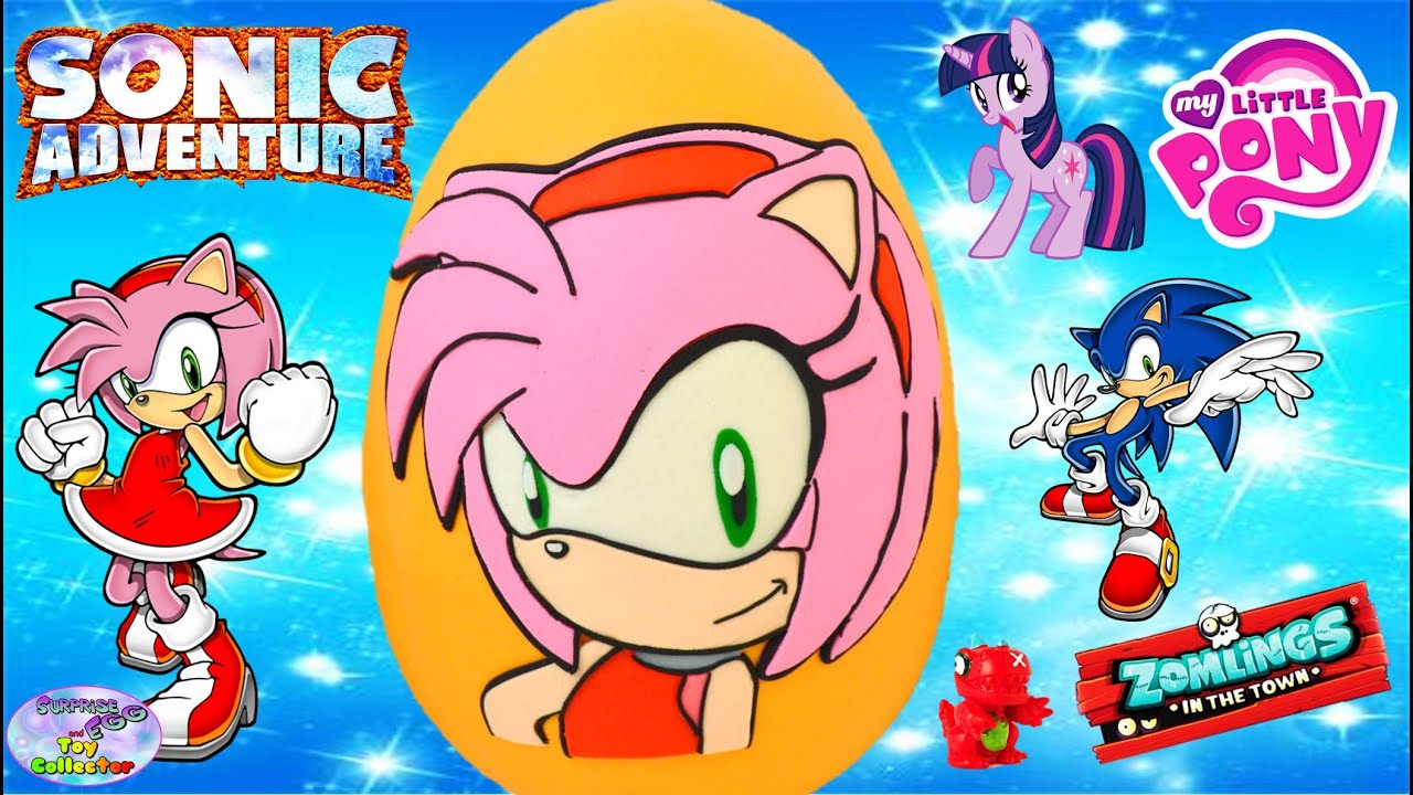 Amy The Hedgehog Giant Play Doh Surprise Egg Sonic Boom Toys Zomlings Mlp Funko Amy Rose Setc Youtube