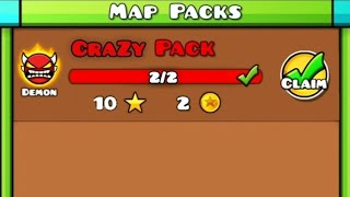 CRAZY PACK | Geometry Dash (Insane Demon Map Pack) : CraZy 1 + CraZy 2 [All Clear] # Fan Made