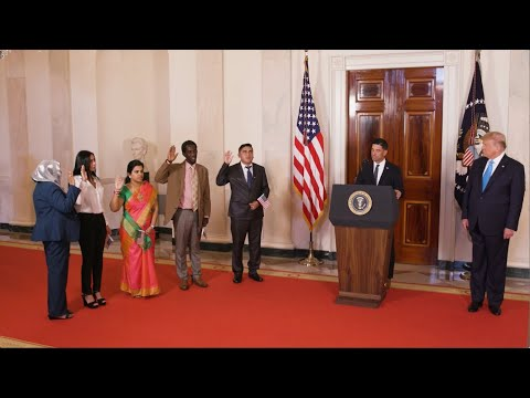 President Trump Participates in a Naturalization Ceremony at the White House