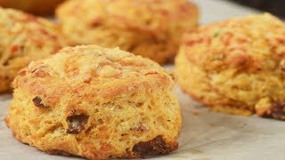 Bacon and Cheese Scones Recipe Demonstration - Joyofbaking.com