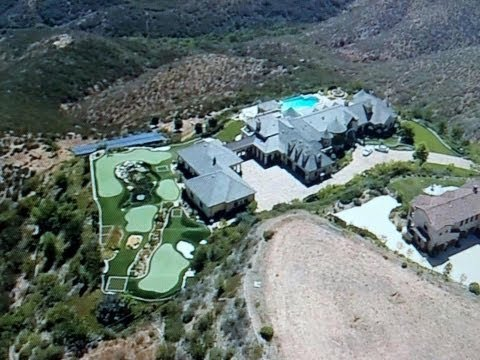 DJI Phantom flies over Castle Mansion with Go Pro. Rancho Santa Fe, California