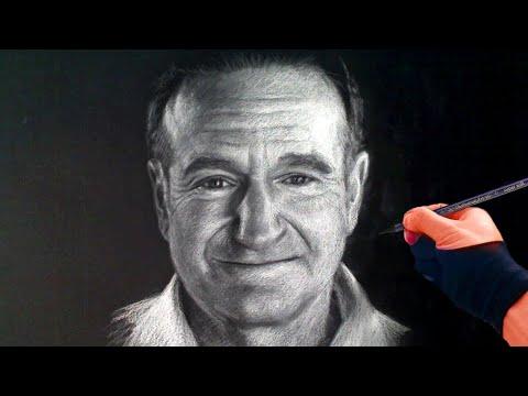 Portrait Artist - Drawing Robin Williams - a tribute - Art Drawing Video