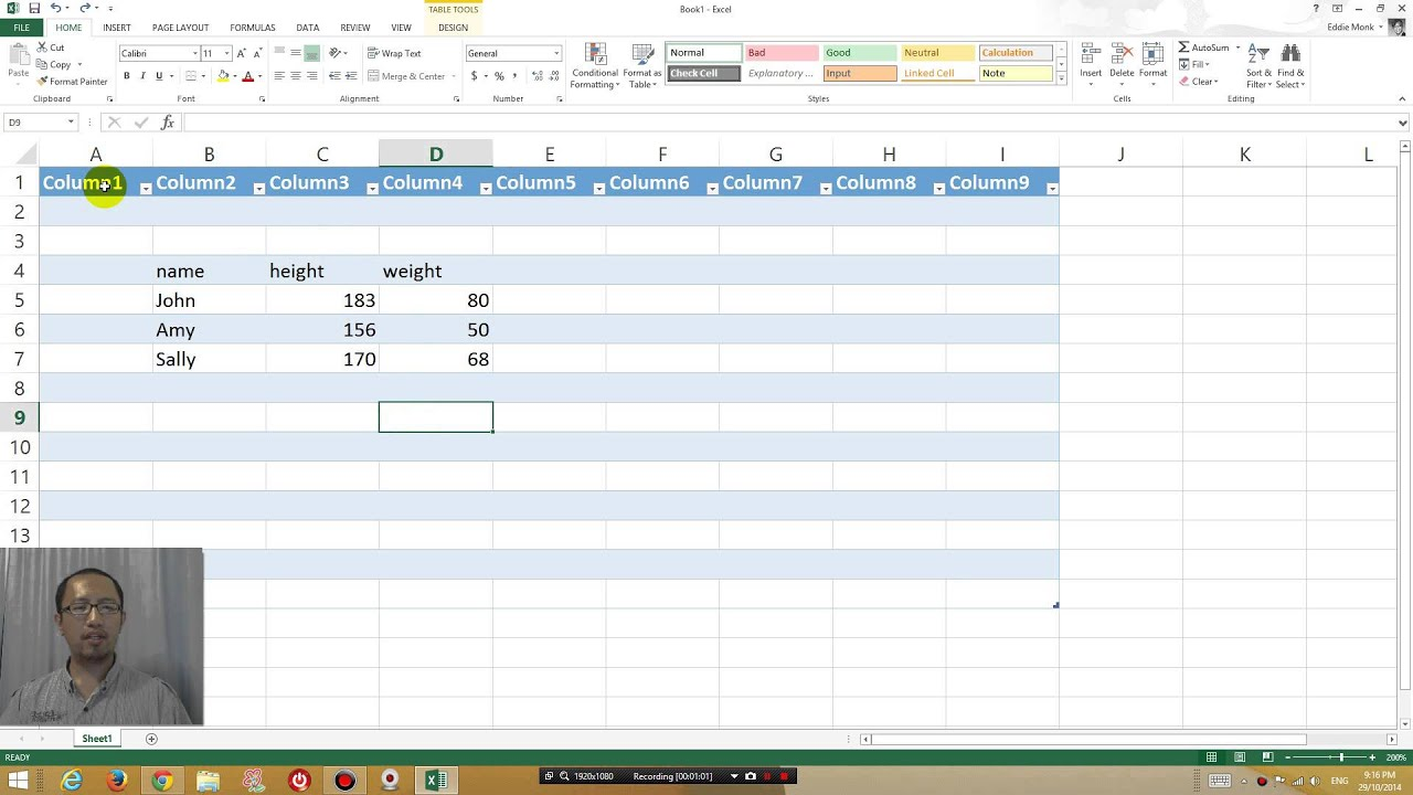 Excel can't get rid of column 1 column 2 header names fix