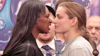 CLARESSA SHIELDS BITES AT FEMKE HERMANS DURING WEIGH IN FACE OFF IN LOS ANGELES!