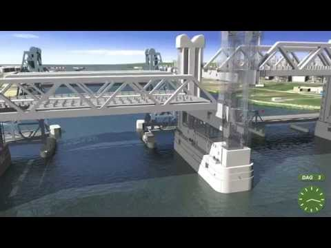 Simulation floating in of the new Botlek bridge in Rotterdam