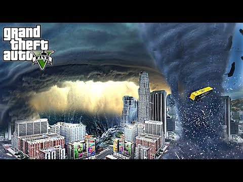 HUGE HURRICANE AND TORNADO DESTROY LOS SANTOS - GTA 5 END OF LOS SANTOS APOCALYPSE MOD