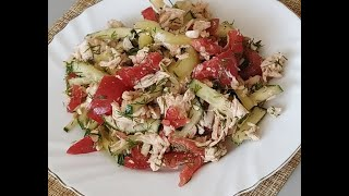 Без МАЙОНЕЗА! Салат с куриным филе и овощами. Делается просто, получается вкусно # 146
