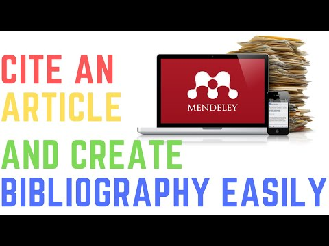 MENDELEY - CITE AN ARTICLE AND CREATE BIBLIOGRAPHY EASILY