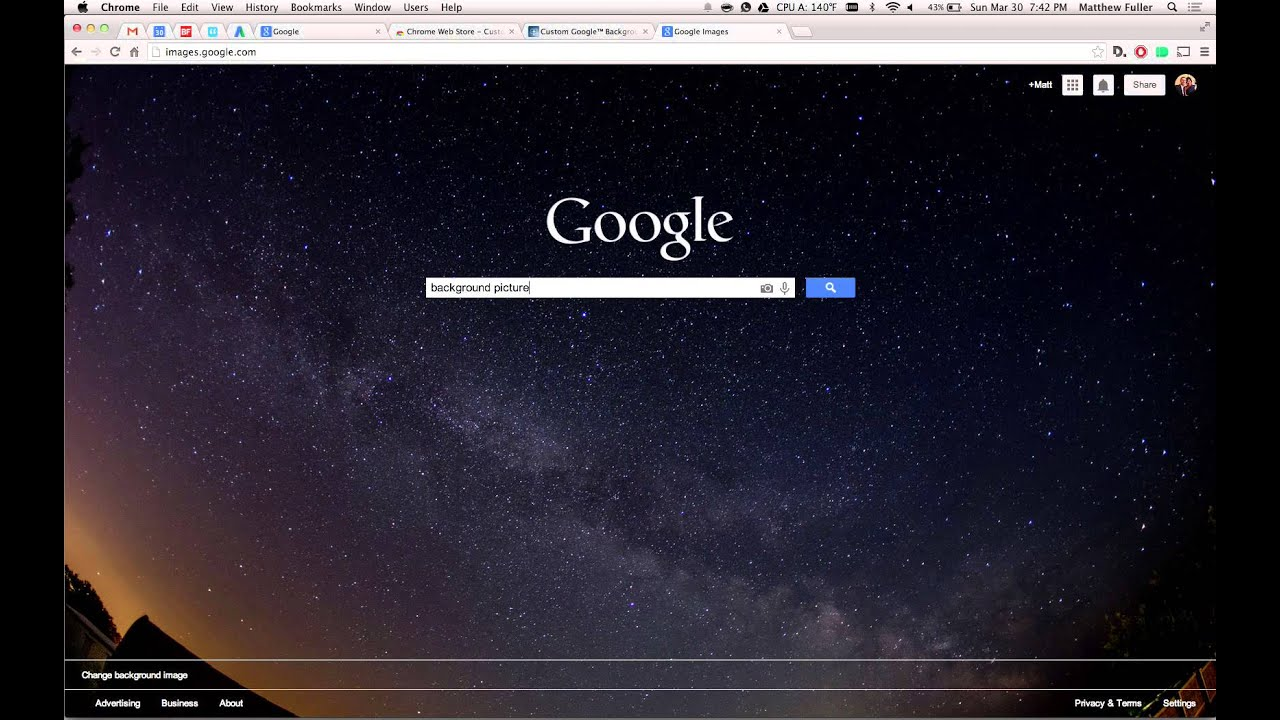 Change Google Search Background to Custom Image - YouTube