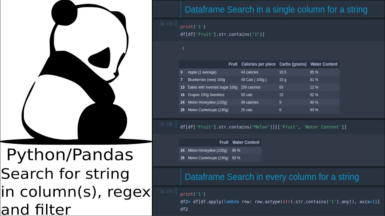 pandas dataframe search for string in all columns filter