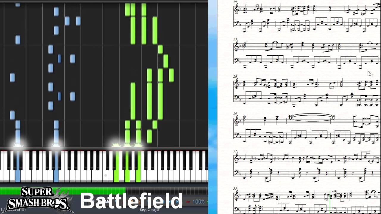 Super Smash Bros 4 BattlefieldMain Theme Synthesia Piano Tutorial YouTube