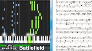 Super Smash Bros. 4 - Battlefield/Main Theme (Synthesia Piano Tutorial)