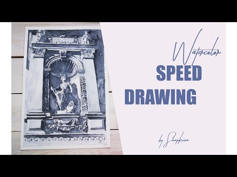 Watercolor speed drawing by Shapkina.