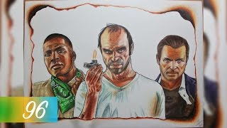 GTA V - Franklin, Trevor, and Michael Colored Drawing