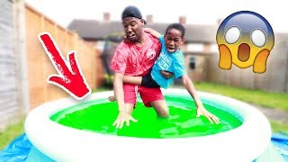 I Put SLIME In My Little Brother's Pool **PRANK!**
