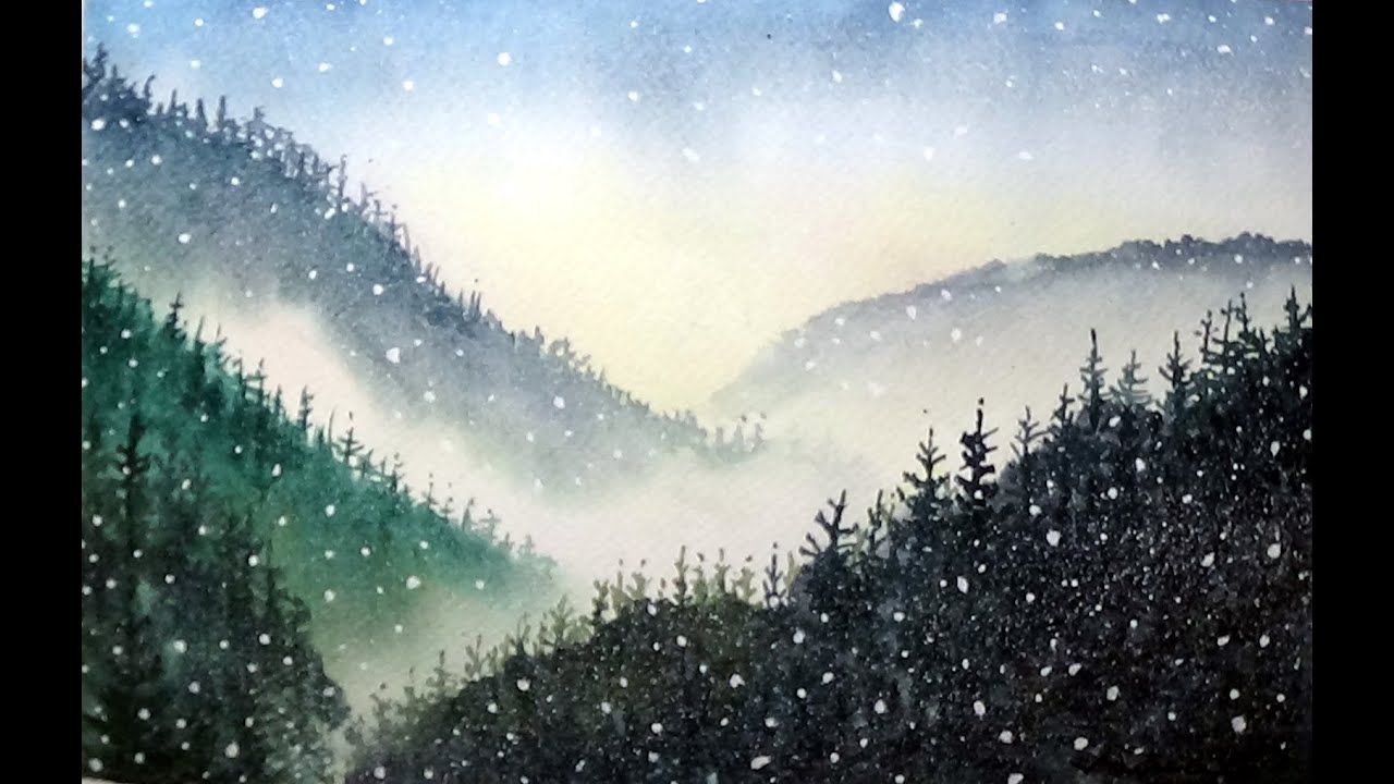 Snowing - Watercolor Painting Exercise - By Vamos