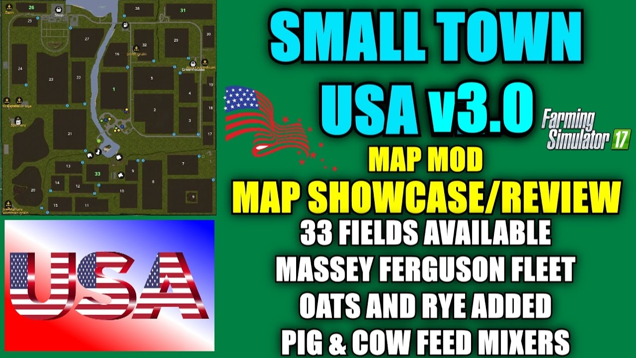 Farming Simulator Small Town USA Updated V Map Map Mod - Us map mod fs 17