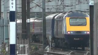 FGW HST 125 set At Doncaster and Northallerton plus HST 125s of other liveries 3rd November 2011.wmv