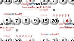 Swiss Lotto Ziehung am Samstag - 6 aus 42 Lottozahlen vom 01.04.2017