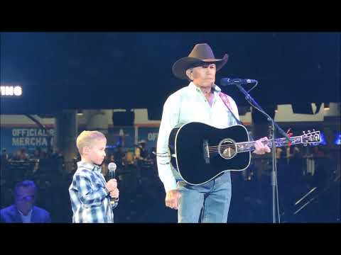 Angie Ward - George Strait and Grandson At Houston Rodeo