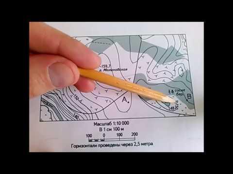 Школьная топография. Определяем высоту точки при помощи горизонталей
