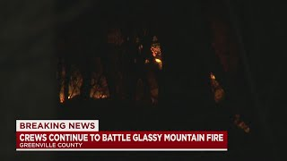 Crews continue fighting fire on Glassy Mountain
