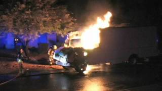 5AM truck fire in Anthem Arizona Burning truck slams into Firetruck
