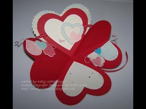 fun folds explosion heart card with kelly gettelfinger youtube