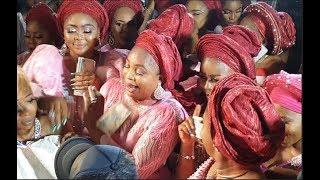 Ayo AdesanyaKemi AfolabiFathia BalogunIyabo Ojo matching outfit as they spray money on the couple