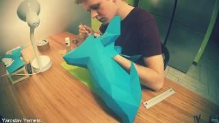 Процесс изготовления головы оленя из Бумаги