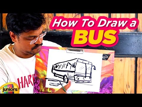 Amazing Sketch Of A Bus By Artist Harrsha | How To Draw A Bus | Drawing Tutorial | Mango Juniors