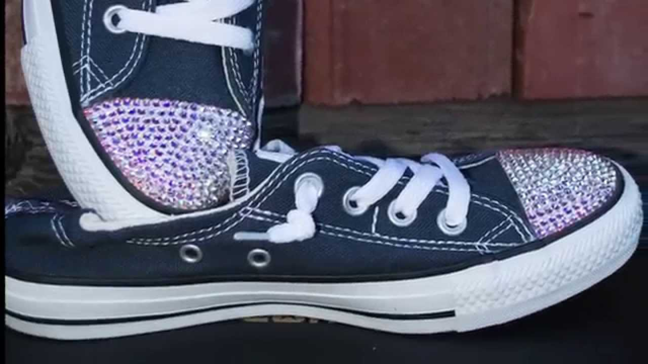 4c66c273ca3d DIY How to bling Converse shoes sneakers with Swarovski Crystal rhinestones  - YouTube
