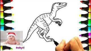 Drawing Velociraptor For Learning Colors and Coloring Pages Dinosaur for Kids 3   #part 31