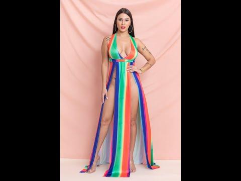 Sexy High Slit V Collar Stretch Rainbow Streak Batch Printed Dress  A28449